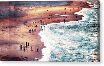 Canvas Print featuring the photograph multiple exposure of people on North sea beach  by Ariadna De Raadt