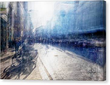 Canvas Print featuring the photograph Multiple Exposure Of Shopping Street by Ariadna De Raadt