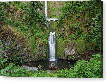 Canvas Print featuring the photograph Multnomah Falls In Spring by Greg Nyquist