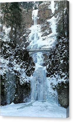 Multnomah In Ice Canvas Print by Jeff Swan