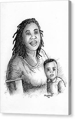 Mum And Baby Canvas Print by Anthony Mwangi