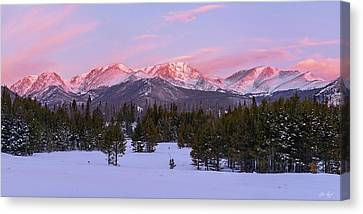 Canvas Print featuring the pyrography Mummy Range Winter Sunrise by Aaron Spong