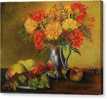 Mums And Fruit Canvas Print by Aurelia Nieves-Callwood
