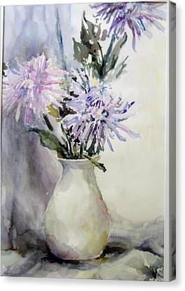 Mums In White Pitcher Canvas Print by Dorothy Herron