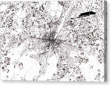 Munich Canvas Print - Munich Abstract City Map Black And White by Frank Ramspott