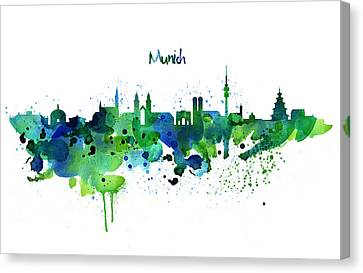 Modern Digital Art Canvas Print - Munich Skyline Silhouette by Marian Voicu