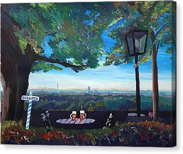 Munich Skyline View Beergarden With Alps Active Canvas Print