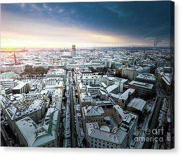 Canvas Print featuring the photograph Munich - Sunrise At A Winter Day by Hannes Cmarits