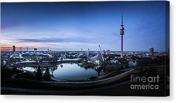 Canvas Print featuring the photograph Munich - Watching The Sunset At The Olympiapark by Hannes Cmarits