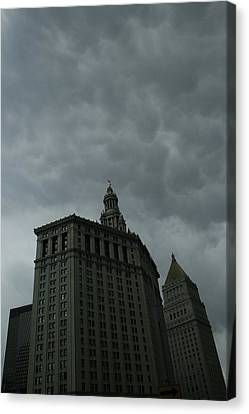 Municipal Building In Storm Canvas Print by Christopher Kirby