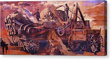 Mural 12x90 Feet Detail Threshing Crew Canvas Print by Tim  Heimdal