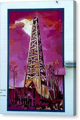 Canvas Print featuring the painting Mural Detail 12x120 Feet Midwest The First Oil Derek In Alberta by Tim  Heimdal