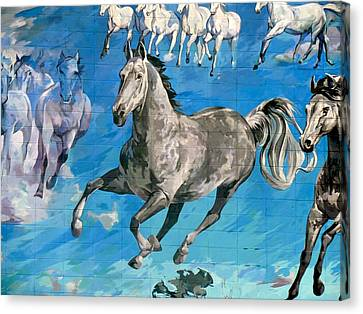 Canvas Print featuring the painting mural detail Equus Descending  by Tim  Heimdal