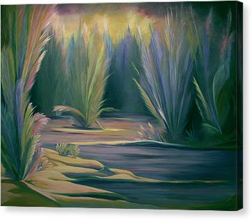 Canvas Print featuring the painting Mural Field Of Feathers by Nancy Griswold
