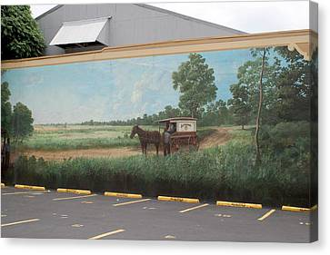 Mural Of Horse And Buggy In Arkansas Canvas Print by Carl Purcell