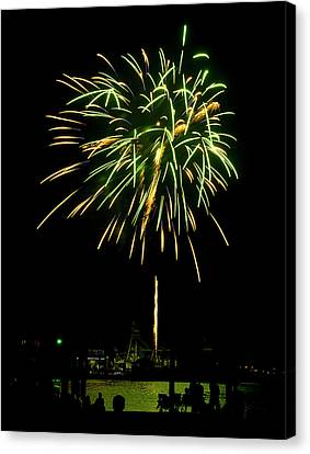 Canvas Print featuring the photograph Murrells Inlet Fireworks by Bill Barber