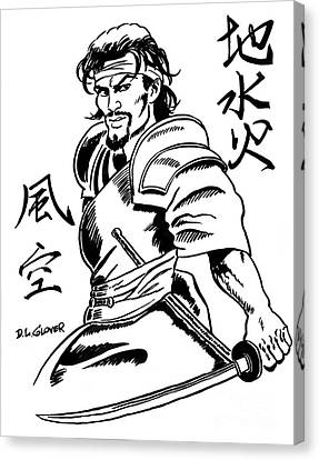 Musashi Samurai Tattoo Canvas Print by David Lloyd Glover
