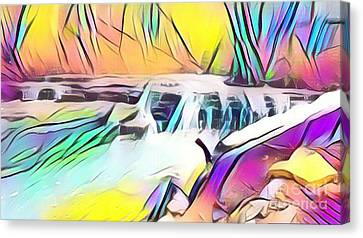Muscatatuck Falls Rainbow Abstract Canvas Print