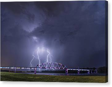 Muscatine Bridge Lightning Canvas Print by Paul Brooks