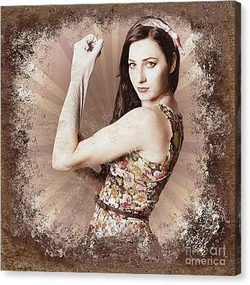 Bandana Canvas Print - Muscle And Strength Pinup Poster Girl by Jorgo Photography - Wall Art Gallery
