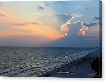 Mushroom Clouds Beach Sunset Canvas Print by Theresa Campbell
