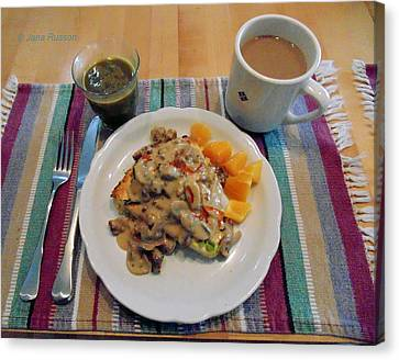 Canvas Print featuring the digital art Mushroom Gravy Over Breakfast Quiche  by Jana Russon