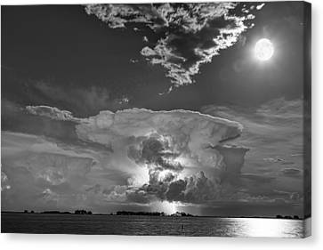 James Insogna Canvas Print - Mushroom Thunderstorm Cell Explosion And Full Moon Bw by James BO  Insogna
