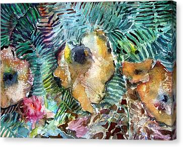Button Mushrooms Canvas Print - Mushrooms In The Forest by Mindy Newman