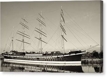 Mushulu - Penns Landing In Sepia Canvas Print by Bill Cannon