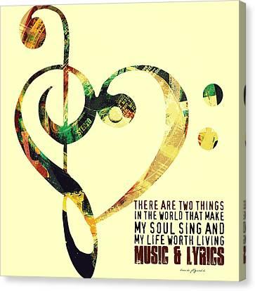 Music And Lyrics V1 Canvas Print by Brandi Fitzgerald