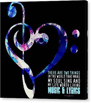Music And Lyrics V2 Canvas Print by Brandi Fitzgerald