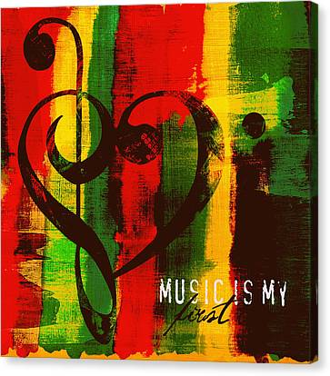 Music Is My First Love V3 Canvas Print by Brandi Fitzgerald