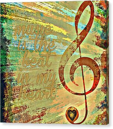Music Is The Beat In My Heart V1 Canvas Print by Brandi Fitzgerald