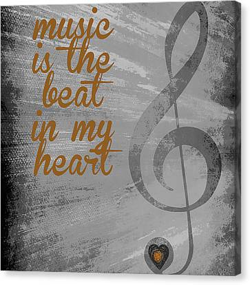 Music Is The Beat In My Heart V2 Canvas Print by Brandi Fitzgerald