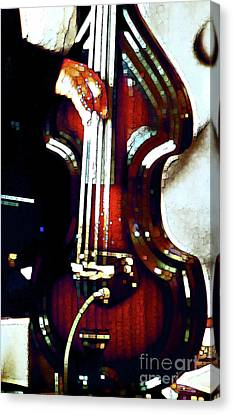 Music Man Bass Violin Canvas Print by Linda  Parker