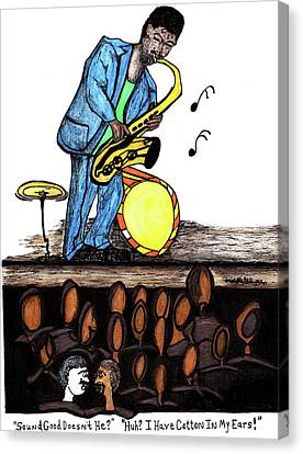 Music Man Cartoon Canvas Print
