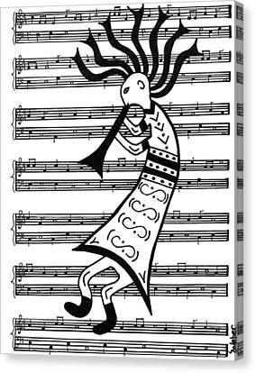 Music Man Kokopelli Canvas Print by Susie WEBER