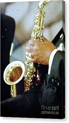 Music Man Saxophone 1 Canvas Print by Linda  Parker