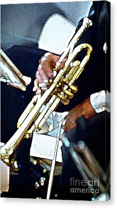 Music Man Trumpet Canvas Print by Linda  Parker