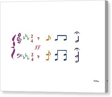 Canvas Print featuring the digital art Music Notes 1 by David Bridburg