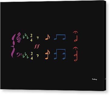 Canvas Print featuring the digital art Music Notes 35 by David Bridburg