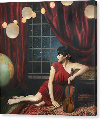 Red Dress Canvas Print - Music Of The Spheres by Anna Rose Bain