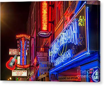 Downtown Nashville Canvas Print - Music Row by Anthony Heflin