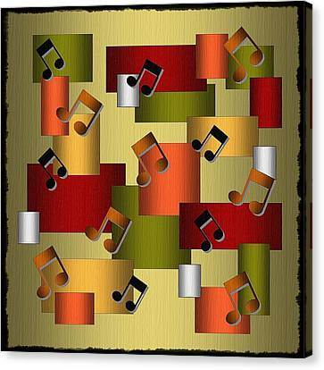 Web Gallery Canvas Print - Music Series Golden Notes Abstract by Terry Mulligan