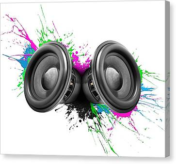 Music Speakers Colorful Design Canvas Print by Johan Swanepoel