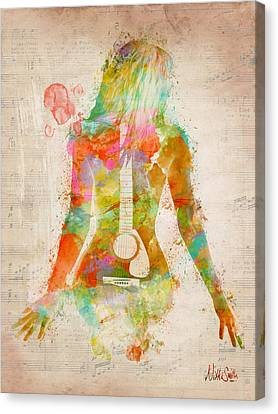 Vintage Sign Canvas Print - Music Was My First Love by Nikki Marie Smith