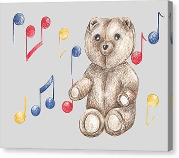 Juvenile Wall Decor Canvas Print - Musical Bear by Rebecca Harrick