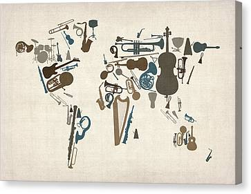 World Map Canvas Print - Musical Instruments Map Of The World Map by Michael Tompsett