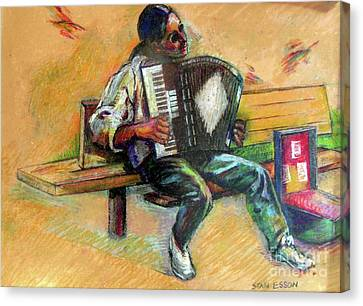 Canvas Print featuring the drawing Musician With Accordion by Stan Esson