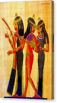 Harp Canvas Print - Musicians Of Egypt - Da by Leonardo Digenio